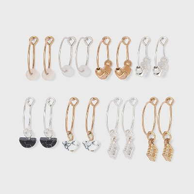 Mixed Semi-Precious with Stone Charm Wire Hoop Multi Earring Set 8pc - Universal Thread™ Worn Gold