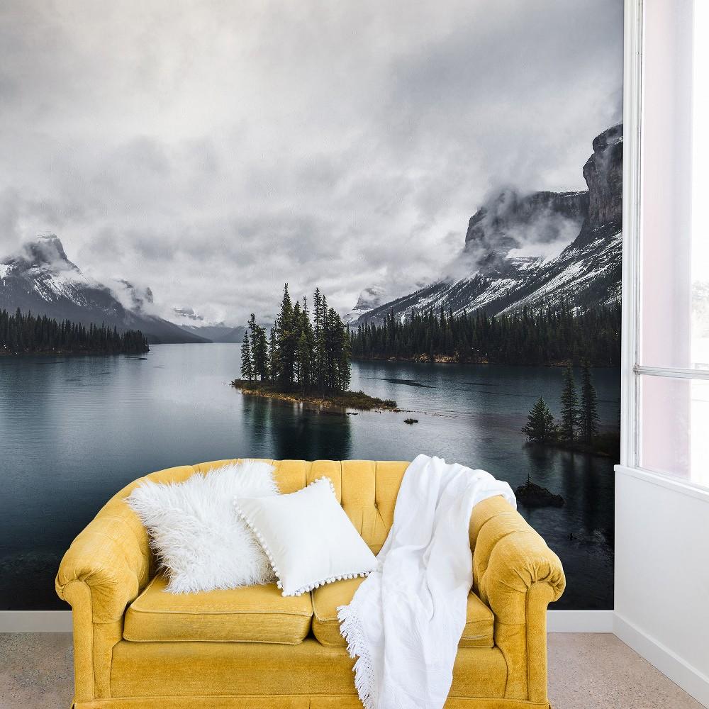 """Image of """"12""""""""x8"""""""" Magda Opoka Maligne Lake Wall Mural Black - Deny Designs"""""""