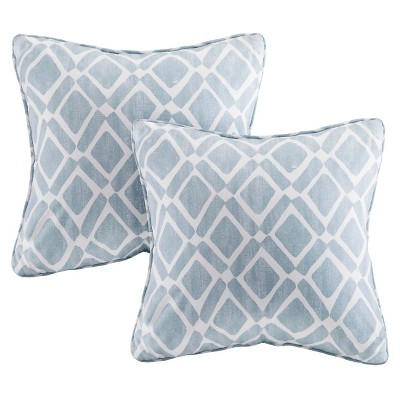 2pk 20 x20  Natalie Printed Square Throw Pillow Blue