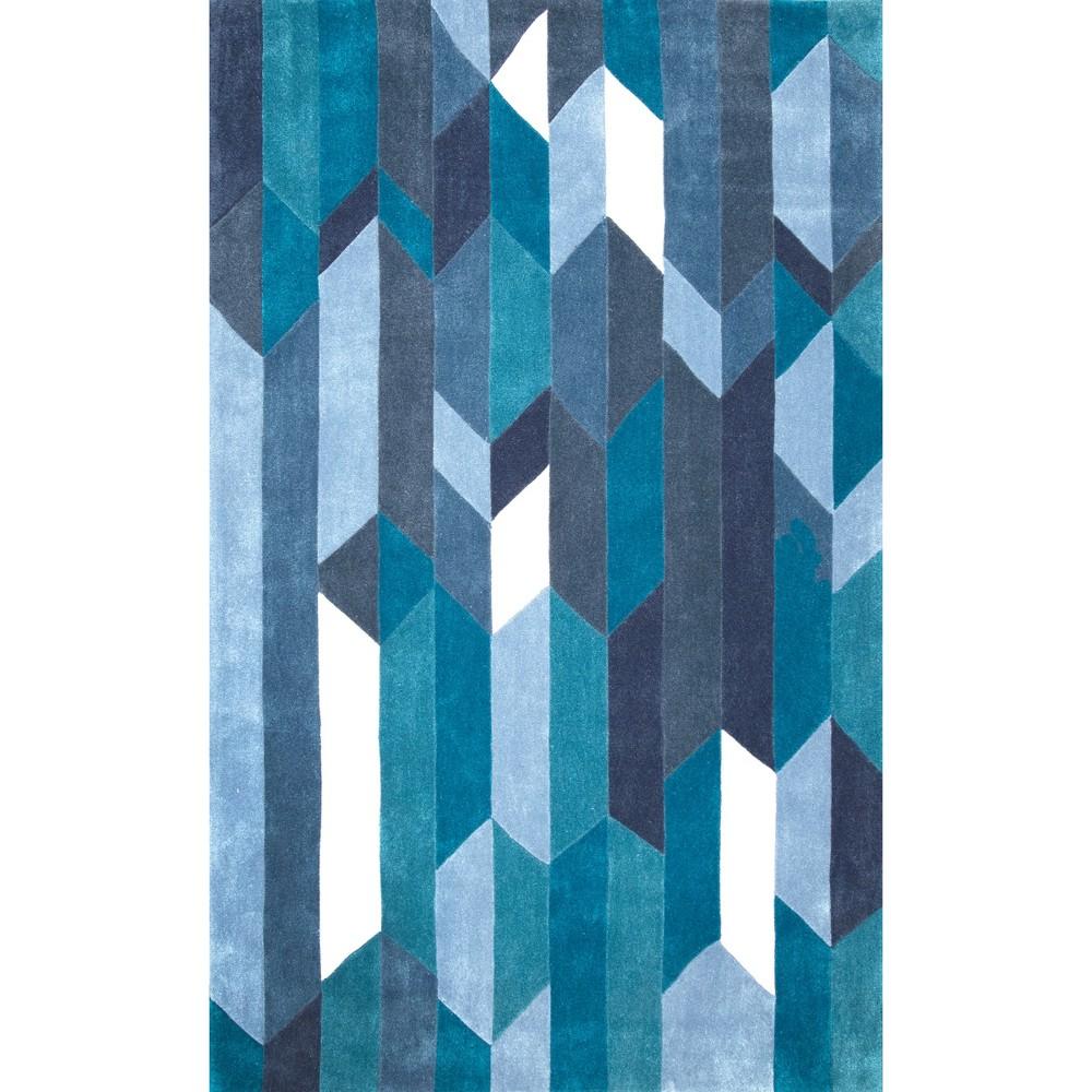 5'X8' Solid Tufted Geometric Area Rug Blue - nuLOOM