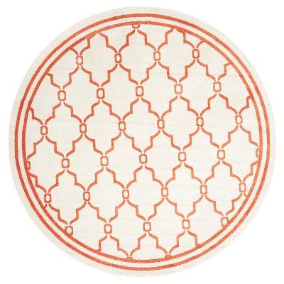 Prato 7' Indoor/Outdoor Round Rug - Beige/Orange - Safavieh