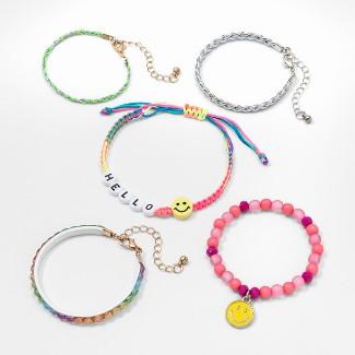 Girls Hello & Smiley Face Bracelet Set - Cat & Jack™ One Size