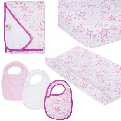 MiracleWare Fitted Sheets Nursery Set - Pink Star 4pc