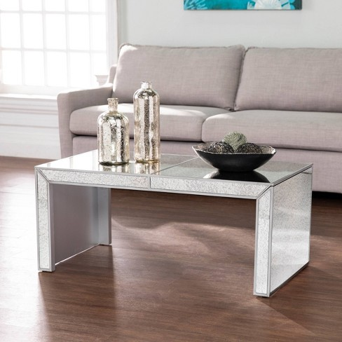Masgrace Antique Mirrored Cocktail Table Silver - Aiden Lane - image 1 of 4