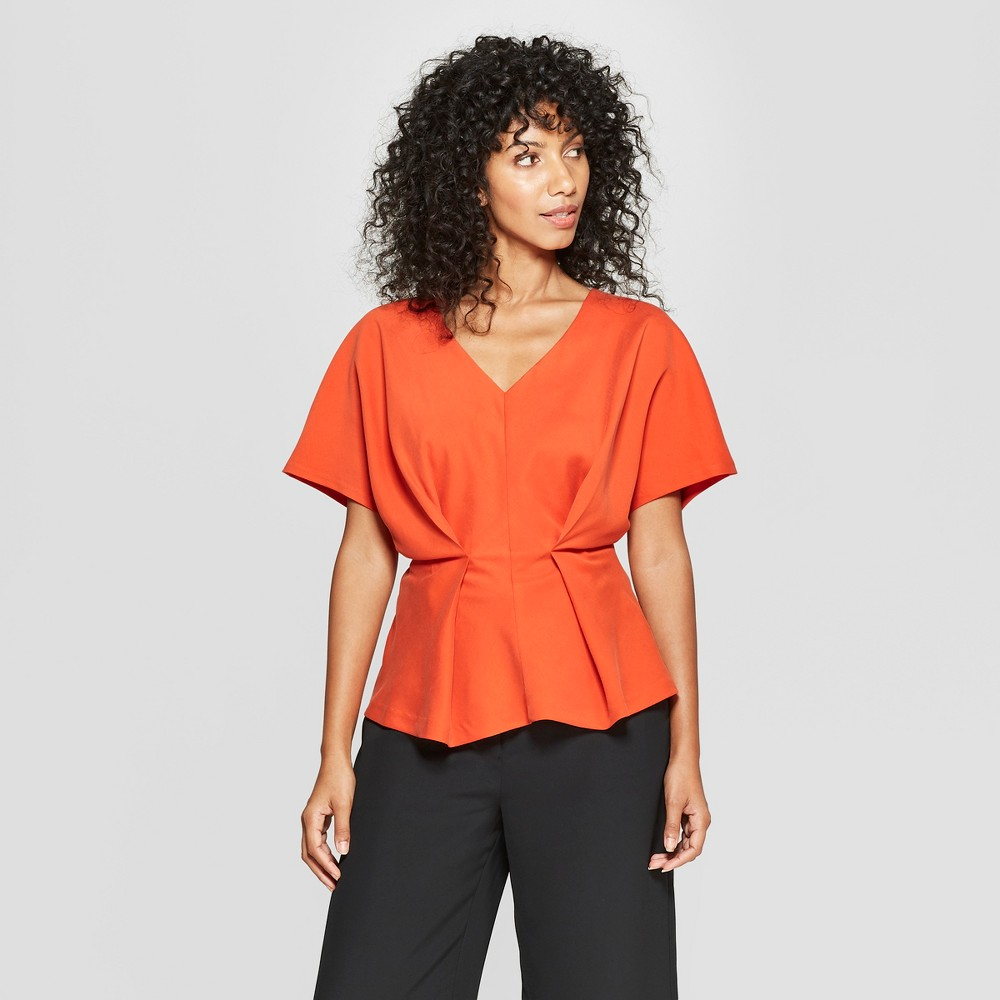 Women's Short Sleeve Pleated Waist Blouse - Prologue Orange XL