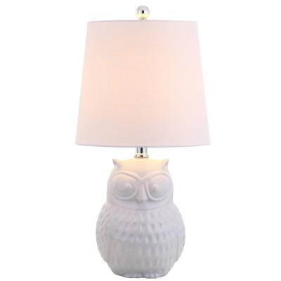 "20.5"" Ceramic Hoot Mini Table Lamp (Includes LED Light Bulb) White - JONATHAN Y"