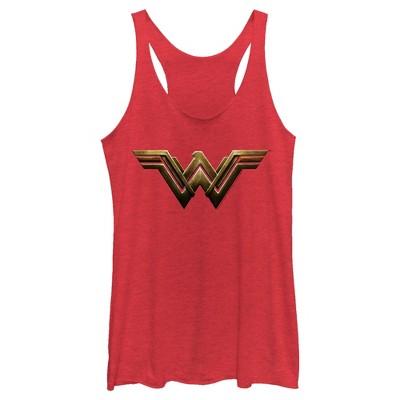 Women's Zack Snyder Justice League Wonder Woman Logo Racerback Tank Top