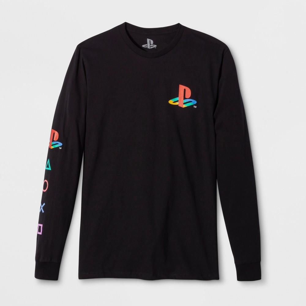 Men's Long Sleeve Sony PlayStation Graphic T-Shirt - Black 2XL