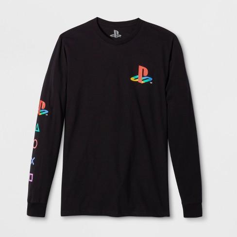 Men s Long Sleeve Sony PlayStation Graphic T-Shirt - Black   Target 2e7d597fc75