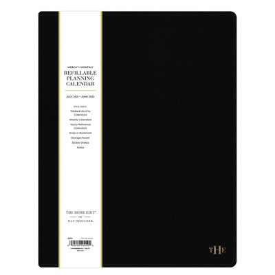 """2021-22 Academic Faux Leather Planner 8.5"""" x 11"""" Weekly/Monthly Wirebound Refillable Black - The Home Edit by Blue Sky"""