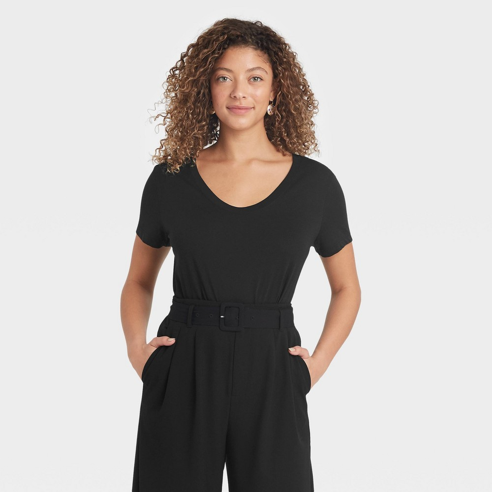 Women 39 S Short Sleeve Scoop Neck T Shirt A New Day 8482 Black S