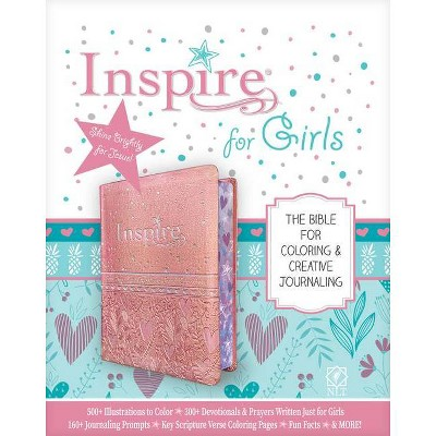 Inspire Bible for Girls NLT (Leatherlike, Pink) - (Leather Bound)