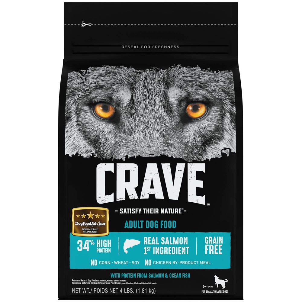 Crave Grain Free High Protein With Protein From Salmon 38 Ocean Fish Adult Premium Dry Dog Food 4lbs