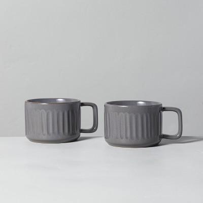 2pk Fluted Stoneware Mug Set Gray - Hearth & Hand™ with Magnolia