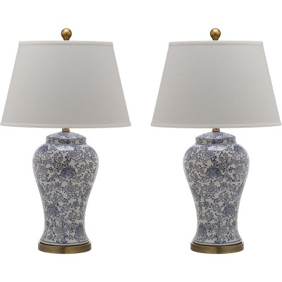 Spring Blossom Table Lamp Blue And White (Set of 2)(Includes Energy Efficient Light Bulb)- Safavieh