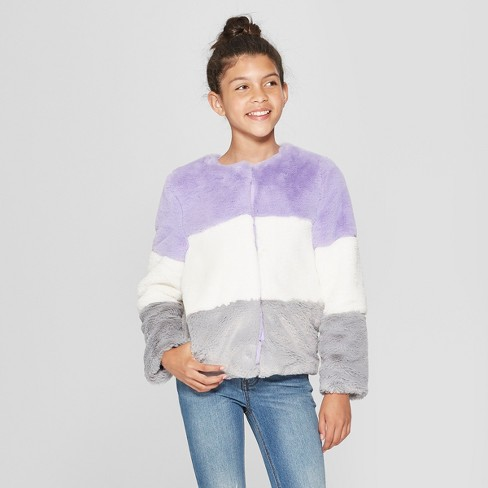 ef5a5a8055a Girls  Faux Fur Jacket - Cat   Jack™ Purple   Target