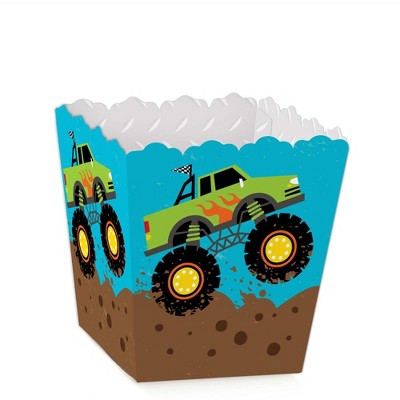 Big Dot of Happiness Smash and Crash - Monster Truck - Party Mini Favor Boxes - Boy Birthday Party Treat Candy Boxes - Set of 12