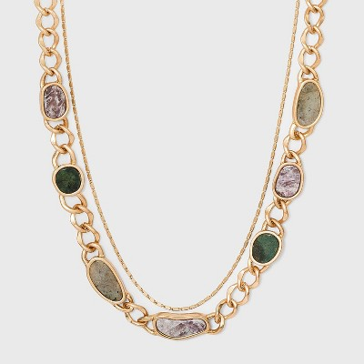 Semi-Precious Curb Chain Layered Necklace - Universal Thread™