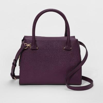 Printed Saffiano Satchel Handbag - A New Day™ Sweet Plum