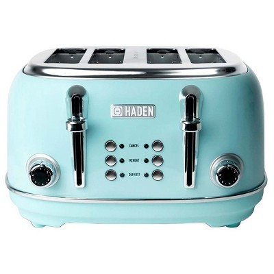 Haden Heritage 4-Slice Wide Slot Stainless Steel Body Countertop Retro Toaster with Adjustable Browning Control, Turquoise