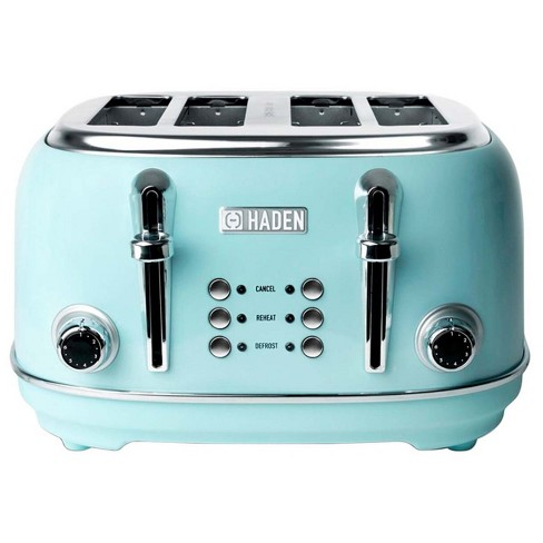 Haden Heritage 4-Slice Wide Slot Stainless Steel Body Countertop Retro Toaster with Adjustable Browning Control, Turquoise - image 1 of 4