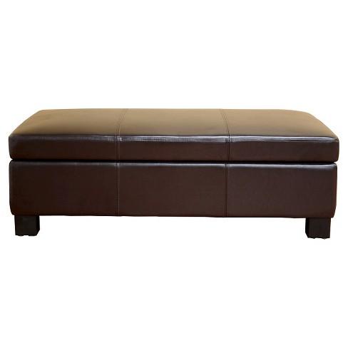 Gallo Leather Storage Ottoman Dark Brown Baxton Studio