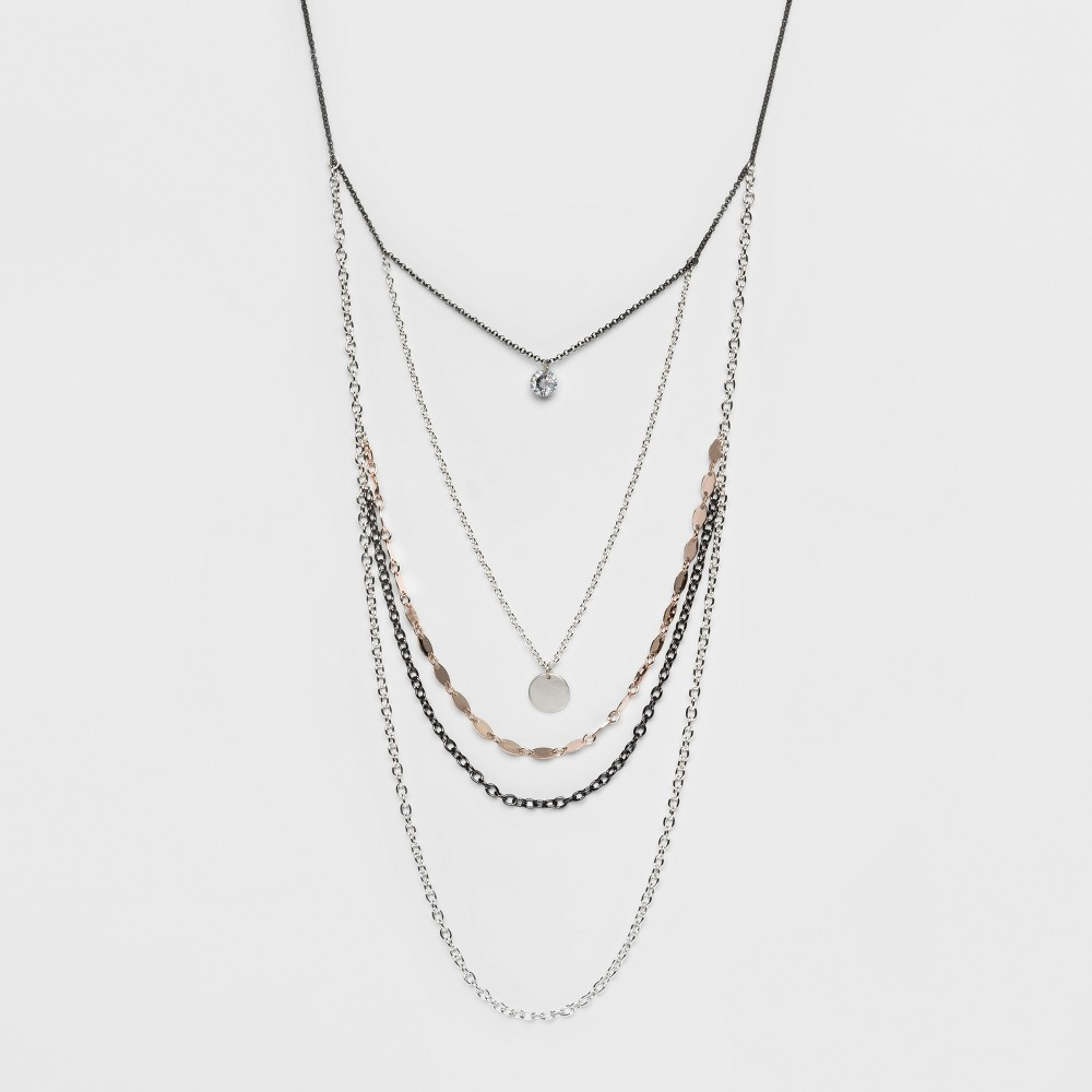 Multi Chains and Small Disc Long Necklace - A New Day, Multi-Colored