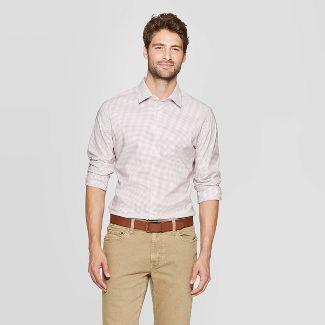 Men's Striped Slim Fit Long Sleeve Dress Button-Down Shirt - Goodfellow & Co™ Dusk Pink 2XL