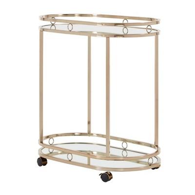 Bartram Oval Bar Cart Champagne Gold - Inspire Q