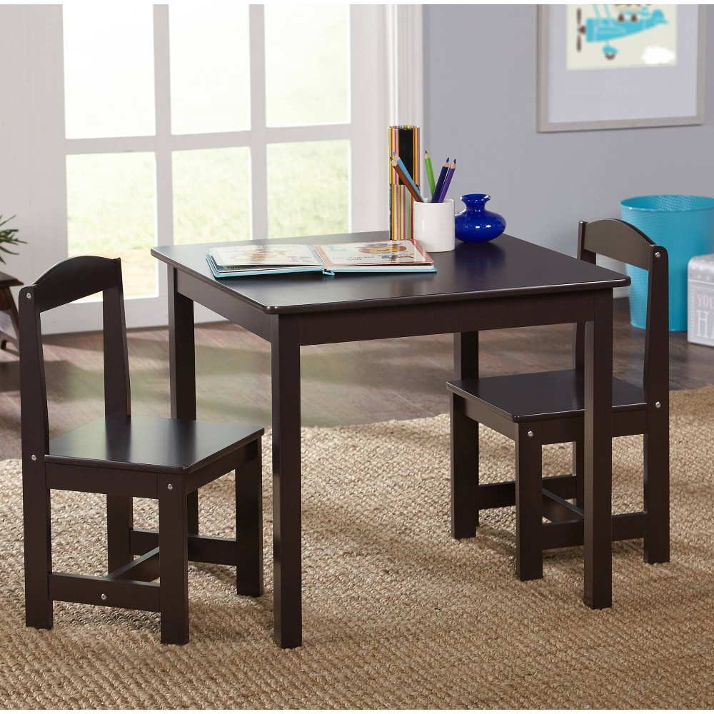 Image of 3pc Madeline Kids Table and Chairs Set Espresso - Target Marketing Services