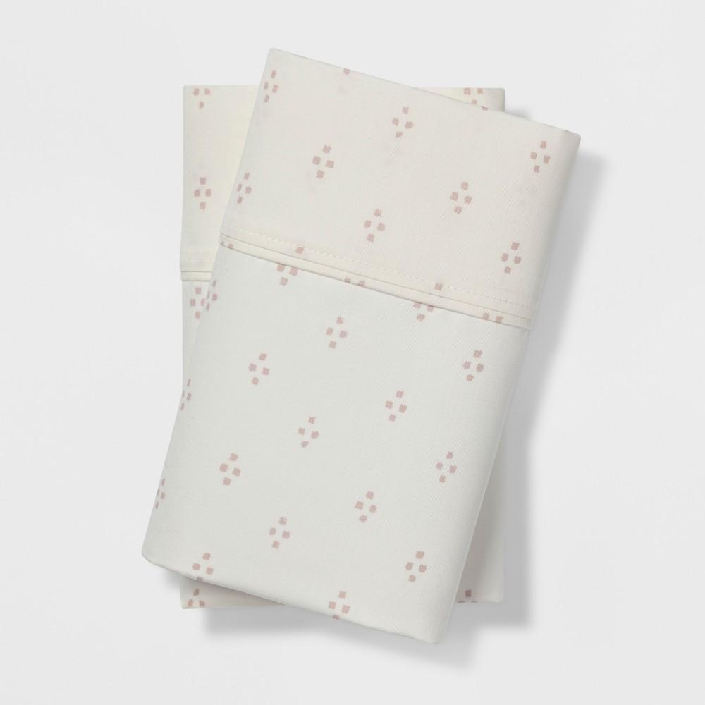 Image of Standard 400 Thread Count Performance Dot Print Pillowcase Set White/Pink - Threshold