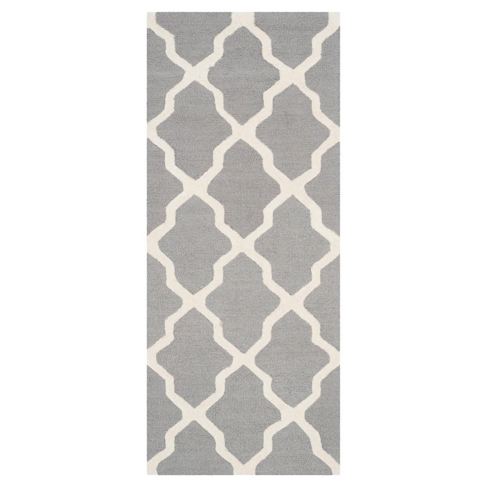 Maison Textured Rug - Silver / Ivory (2'6X18') - Safavieh, Silver/Ivory