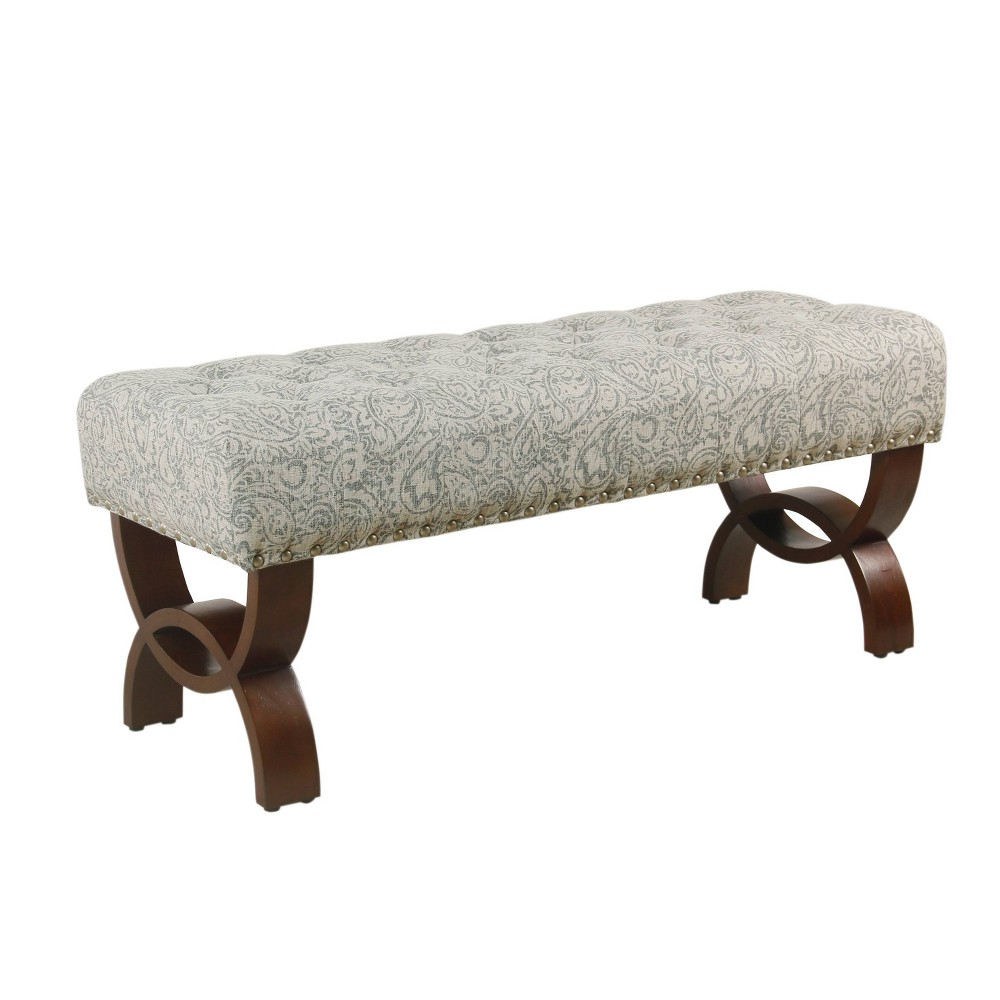Carolina Tufted Bench With Nailhead Trim Floral Gray - HomePop