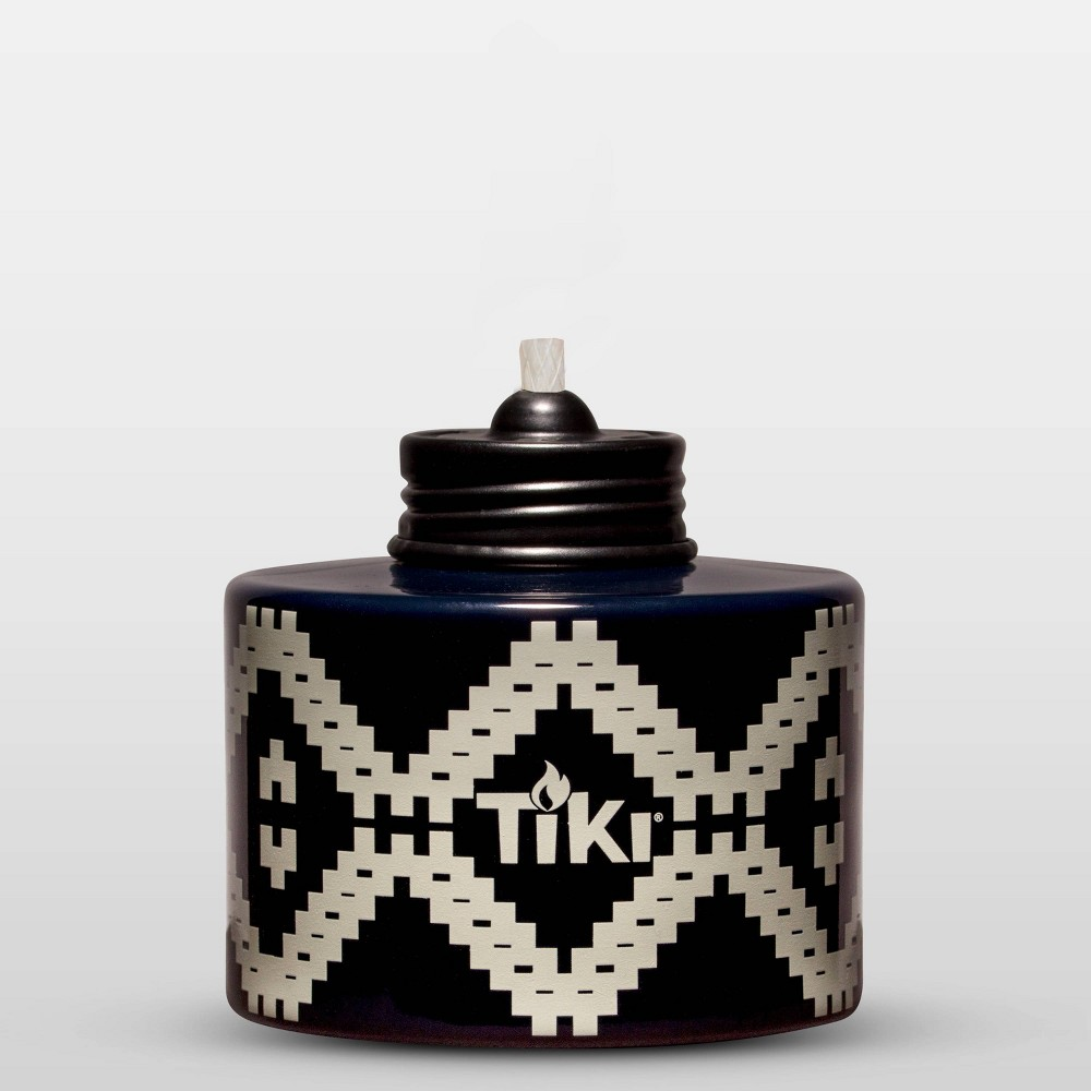 Image of Painted Glass Table Torch & Trial Fuel Set Black Pattern - TIKI