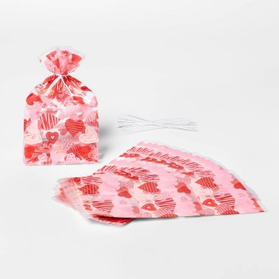 20ct Cellophane Heart Print Treat Bags Red/Pink - Spritz™