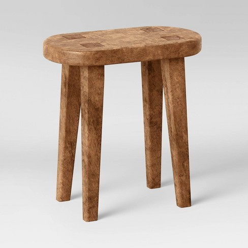 Woodland Carved Wood Accent Table Brown - Threshold™ - image 1 of 4