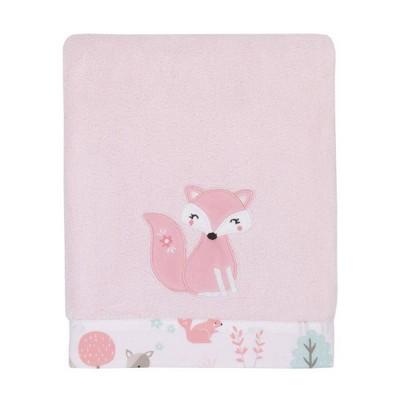 NoJo Sweet Forest Friends Super Soft Appliqued Baby Blanket - Pink/Aqua/Gray