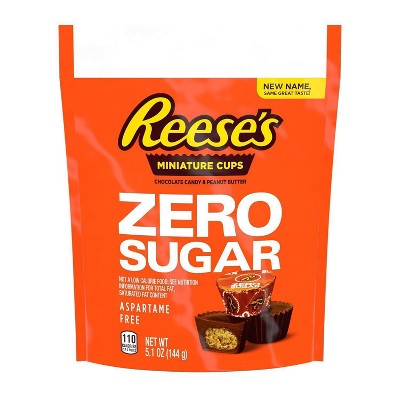 Reese's Zero Sugar Chocolate Candy and Peanut Butter Miniature Cups Pouch - 5.1oz
