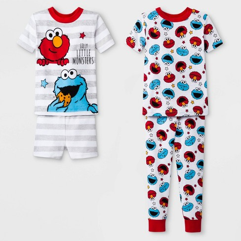 a77368aa76 Toddler Boys  Sesame Street 4pc Pajama Set - White 5T   Target
