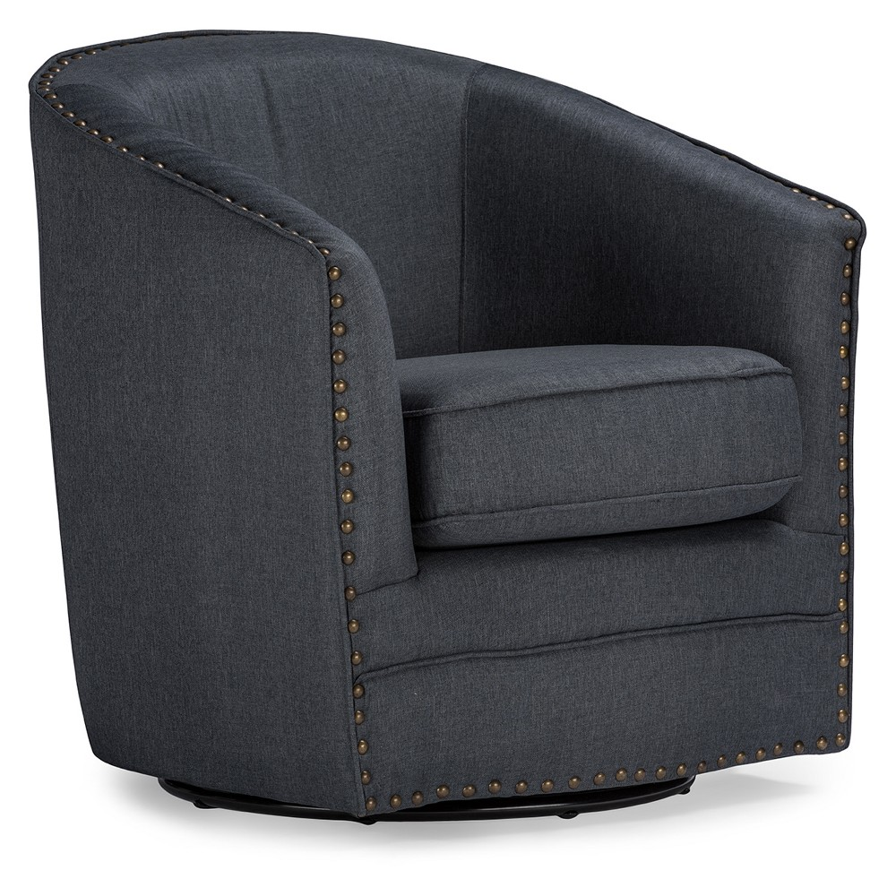 Porter Modern and Contemporary Classic Retro Fabric Upholstered Swivel Tub Chair - Gray - Baxton Studio