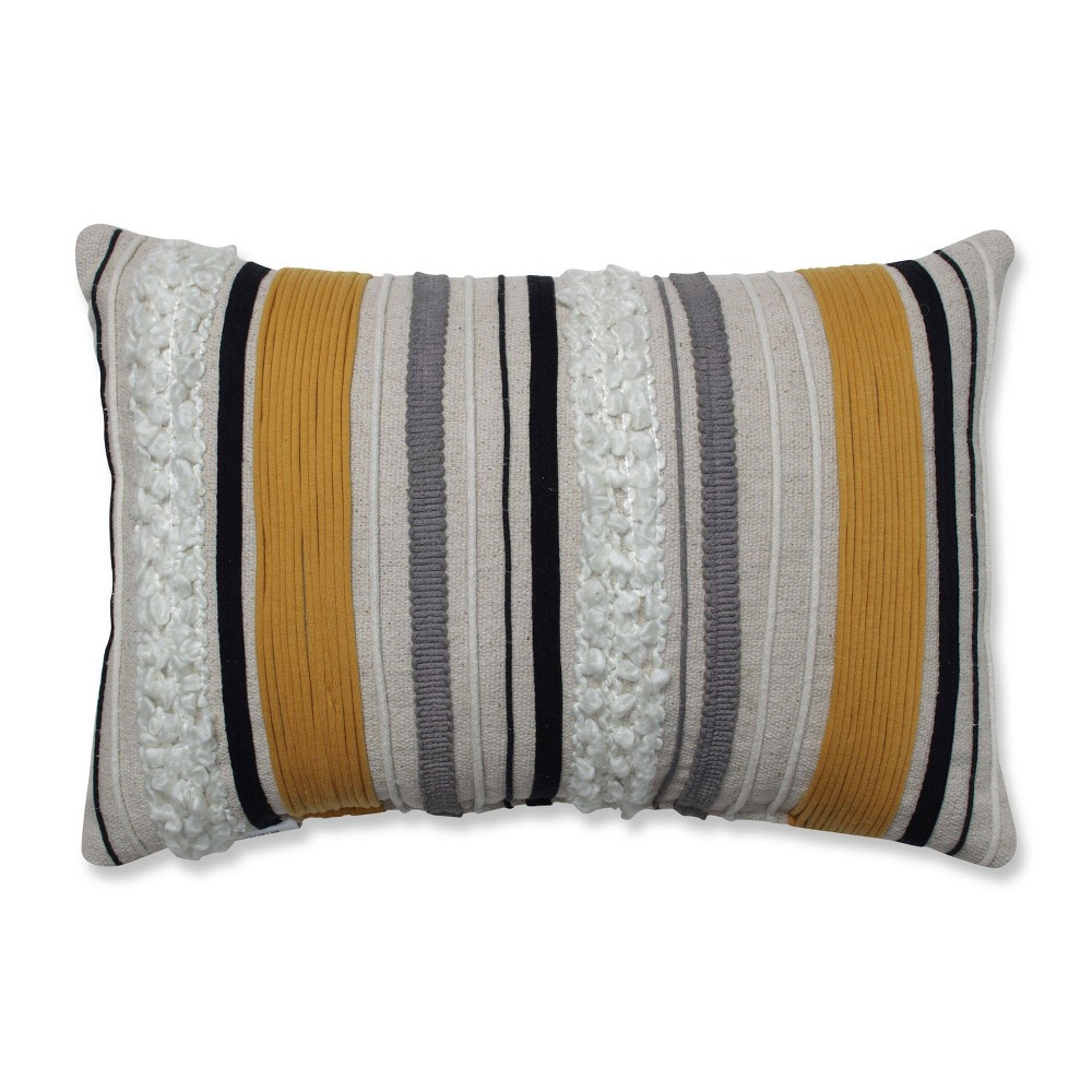 "Image of ""11.5""""x18.5"""" Sullivan Lines Throw Pillow Natural/Gold - Pillow Perfect"""