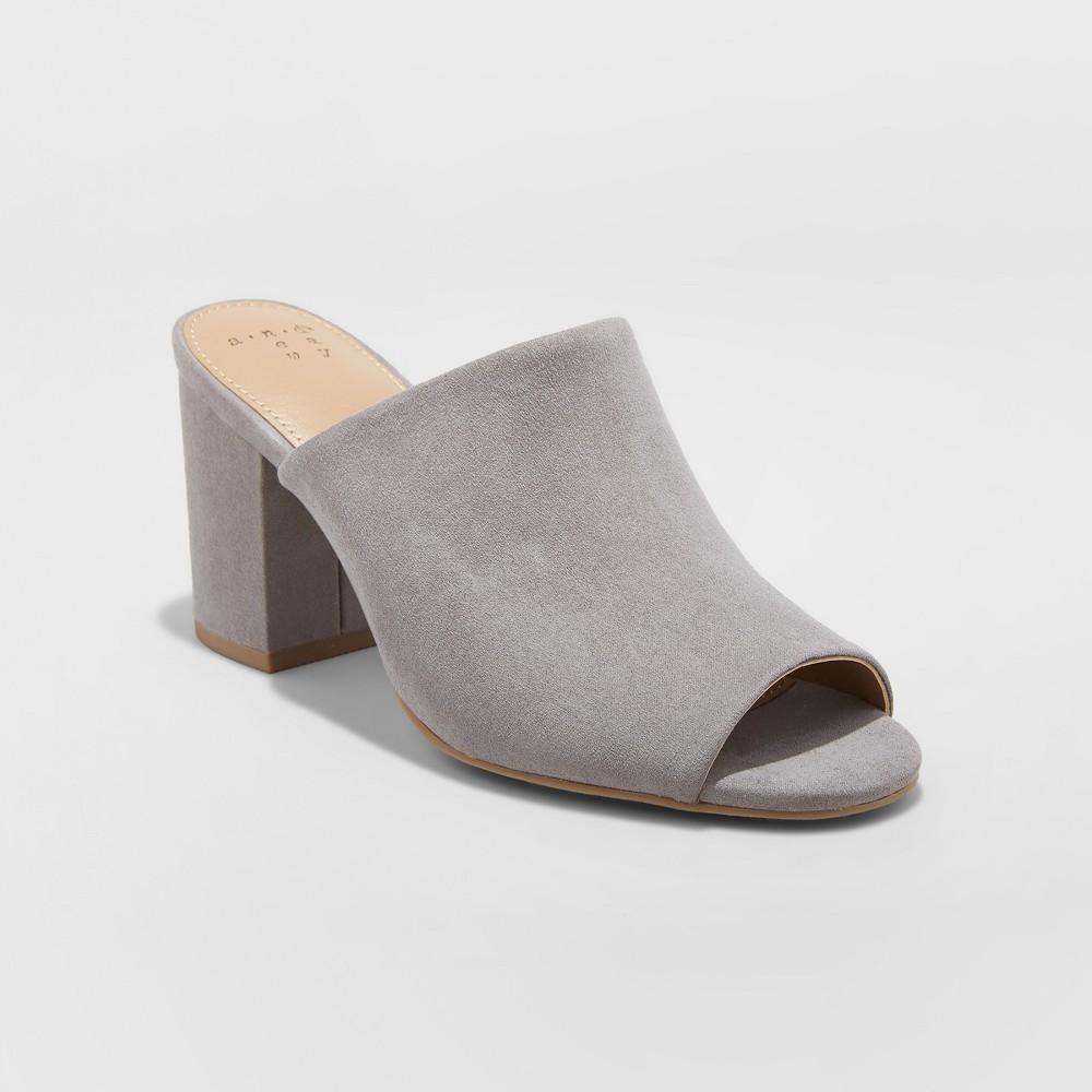 Women's Didi Block Heel Mules - A New Day Gray 7