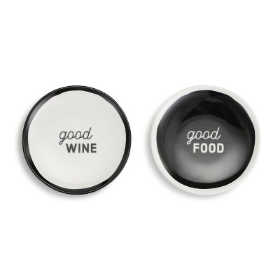 DEMDACO Good Food Wine Appetizer Plates - Set of 2 Black