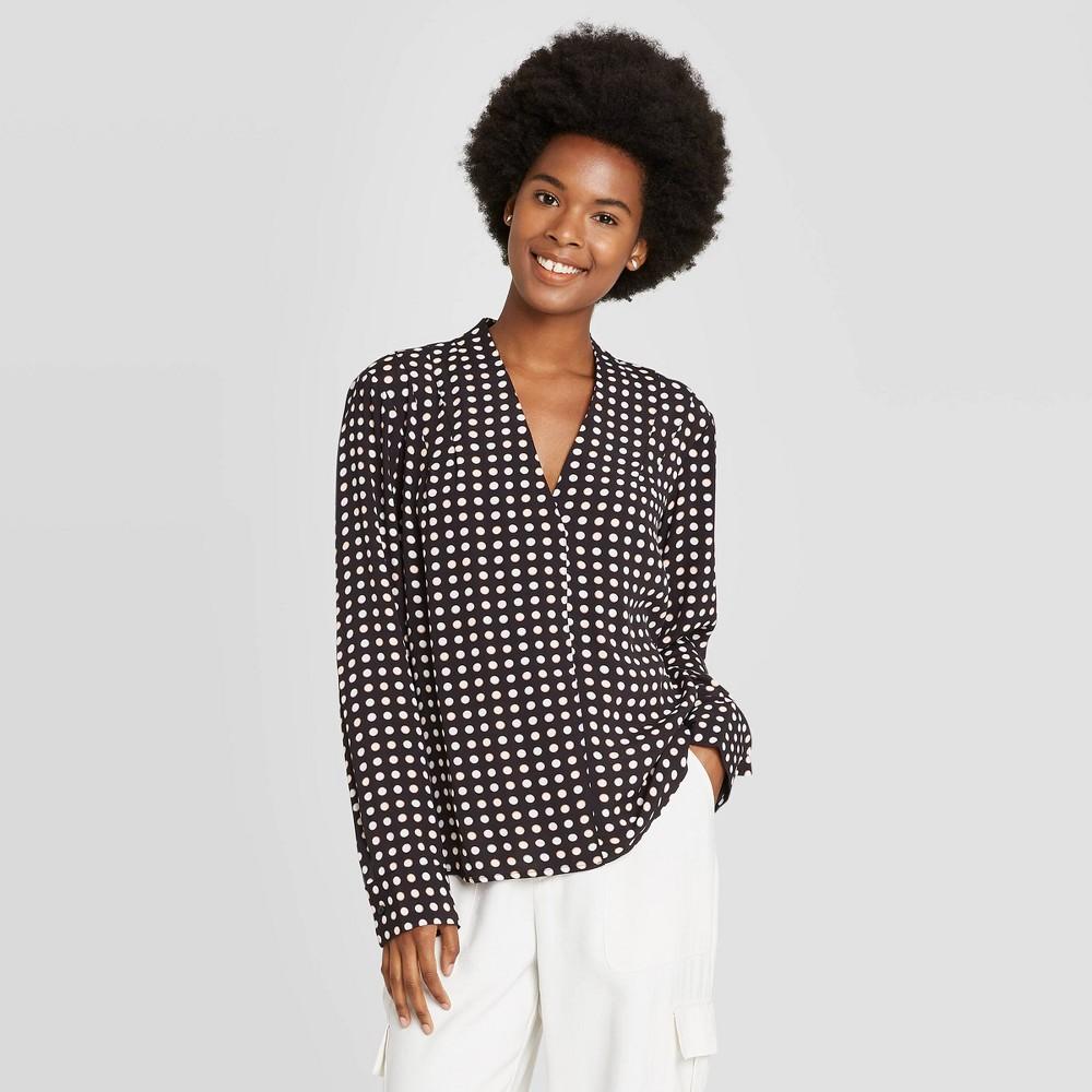 Women 39 S Polka Dot Long Sleeve Popover Blouse A New Day 8482 Black Xs