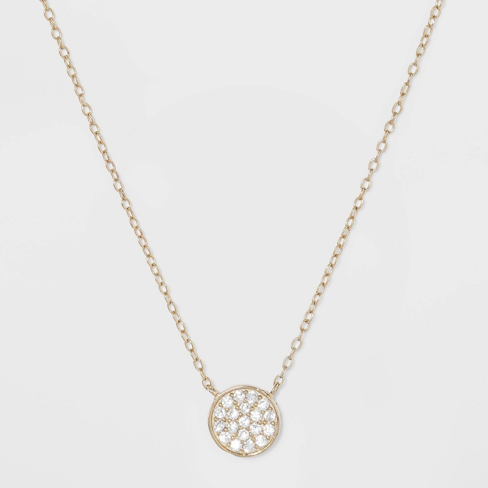 Best Shopping Sterling Silver Pave Cubic Zirconia Disc Necklace Gold Girl