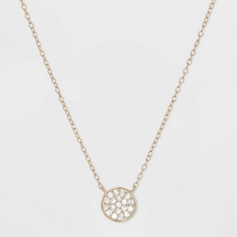 Sterling Silver Pave Cubic Zirconia Disc Necklace - Gold - image 1 of 2