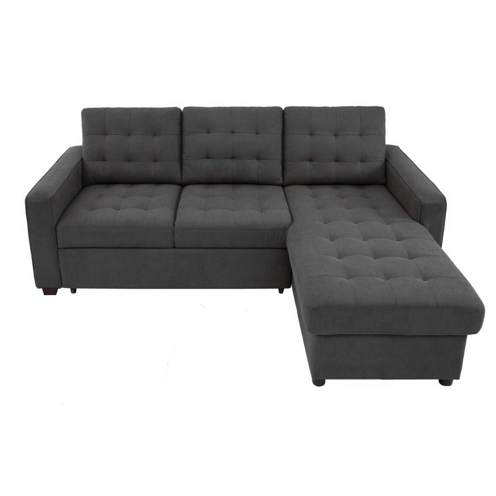Image of Bernard Tufted Microfiber Convertible Sofa with Storage Gray - Lifestyle Solutions