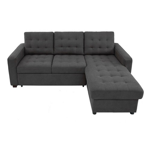 Bernard Tufted Microfiber Convertible Sofa With Storage Gray Lifestyle Solutions Target