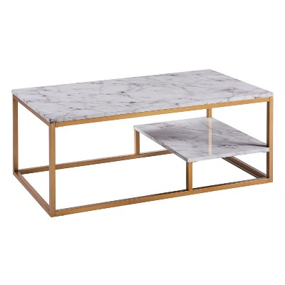 Marmo Coffee Table Faux Marble/Brass - Versanora