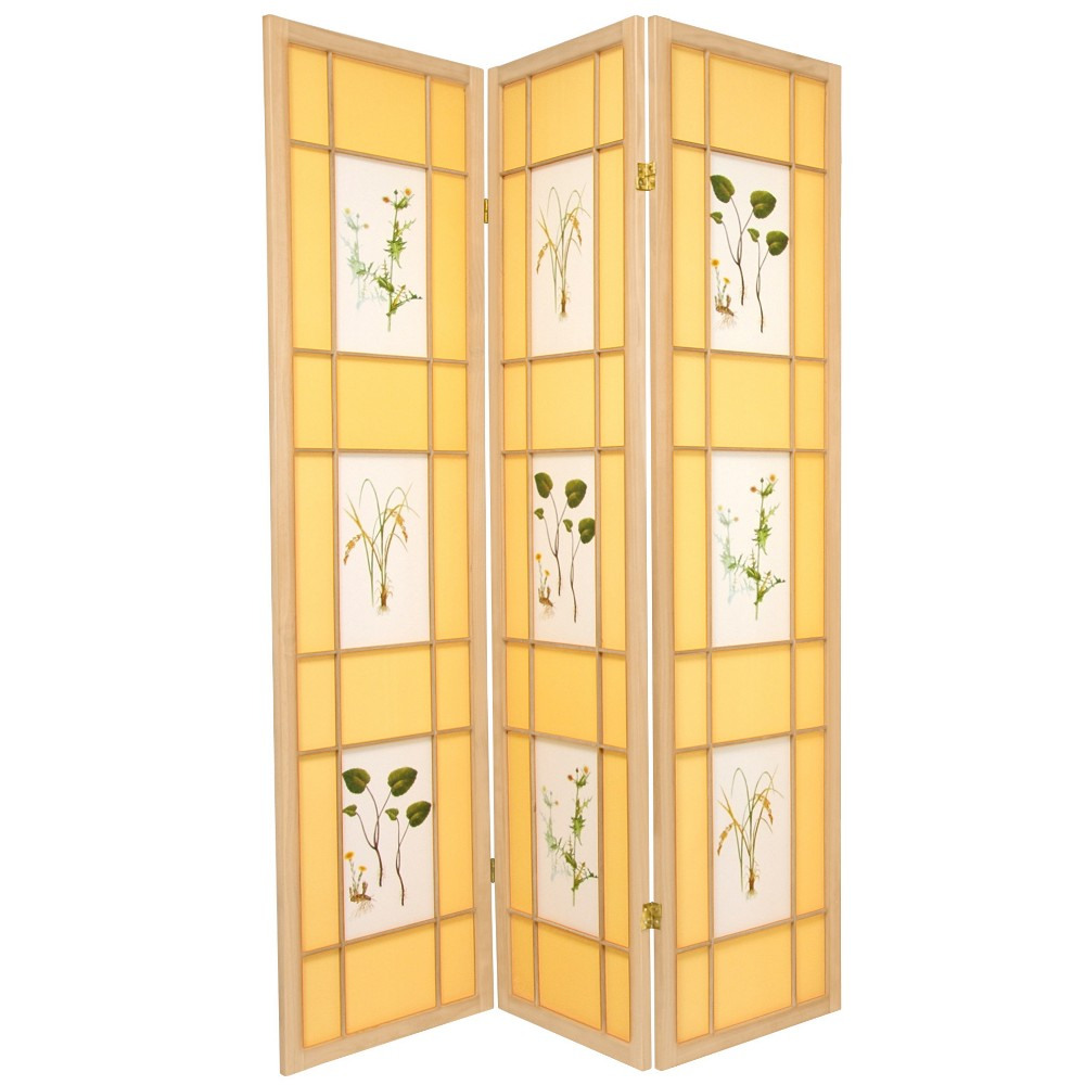 Oriental Furniture 6' Tall Herbal Floral Shoji Screen 3 Panel Natural